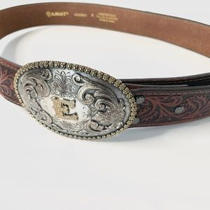 """Ariat Tooled Leather Belt and Belt Buckle """"E"""""""